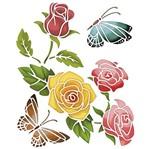 Stencil Litoarte 25x20 STR-012 Rosas com Borboleta