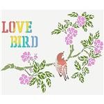 Stencil Litoarte 25x20 STR-015 Galho com Flor e Pássaro