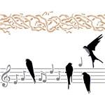 Stencil Litoarte 25x20 STR-016 Pássaro e Notas Musicais