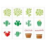 Stencil Litoarte 25x20 STR-086 Miniaturas Suculentas e Cactus