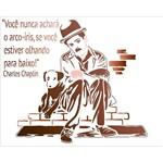 Stencil Litoarte 25x20 STR-133 Charles Chaplin Frase