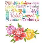 Stencil Litoarte 25x20 STR-118 Flores e Nomes