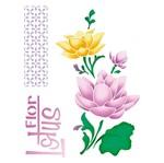 Stencil Litoarte 25x20 STR-119 Flores de Lótus