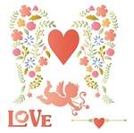 Stencil Litoarte 25x25 STXXV-012 Amor Coração com Asas e Anjo