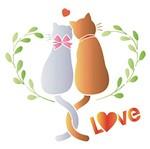 Stencil Litoarte 25x25 STXXV-014 Casal de Gatos Love