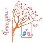 Stencil Litoarte 25x25 STXXV-015 Árvore de Corações e Pássaros