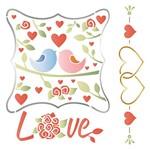 Stencil Litoarte 25x25 STXXV-018 Casal de Pássaros Love