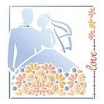 Stencil Litoarte 25x25 STXXV-019 Casal de Noivos e Flores