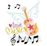 Stencil Litoarte 25x25 STXXV-034 Love Music e Violão
