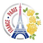 Stencil Litoarte 25x25 STXXV-026 Selo Torre Eiffel e Rosas
