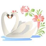 Stencil Litoarte 25x25 STXXV-039 Cisnes e Flores