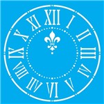 Stencil Litocart 20x20 LSQ-140 Relógio Flor de Lis