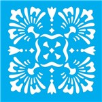 Stencil Litocart 14x14 LSP-059 Azulejo Flor