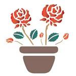 Stencil Opa 14x14 Vaso com Rosas 1003