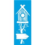 Stencil Pequeno Casa Passarinho 17x6,5 Stp068 Litoarte