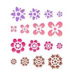 Stencil Simples - 20x25cm - Estampa Flores Diversas - OPA1092 - Opa Criando Arte