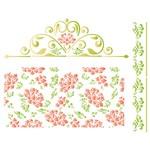 Stencil STR 064 Flores e Arabescos