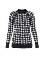 Suéter Botões Estampado Preto e Branco Tamanho 50