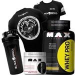 Suplemento Musculação Hipertrofia Massa Magra Whey 1kg + Creatina + Coque + Camisa Black Skull