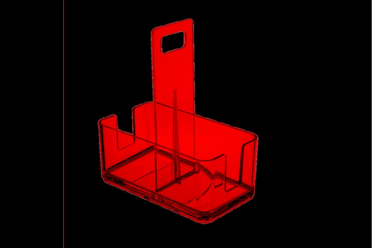 Suporte Multiuso Pequeno - MOD 16 X 9 X 6,8 Cm Vermelho Transparente Coza