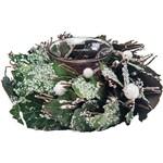 Suporte para 1 Vela com Decoração em Folhas, 16cm - Christmas Traditions