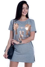 T-shirt Ampla Mickey com Estampa BL3333 - Kam Bess