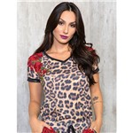 T-Shirt Animal Print com Patch Floral M