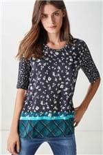 T-Shirt Barrado Floral Noturno Estampado - 38