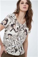 T-Shirt Basica Estampada Woel Bege - 36