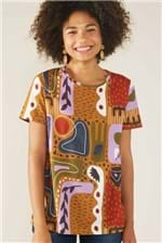 T-shirt Cantão Estampa Colheita - Multicolorido