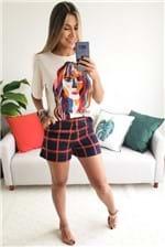 T-shirt Cantão Local Rosto com Bordado - Bege