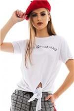 T-shirt com Amarração Frontal e Lettering BL4339 - Kam Bess