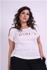 T-shirt com Nó na Manga Plus Size Off White P