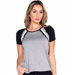 T-Shirt com Recorte Tricolor P