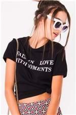 T-shirt Cropped com Estampa Lettering BL3862 - Kam Bess