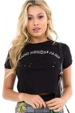 T-shirt Cropped Destroyed com Lettering BL4191- Kam Bess