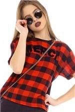T-shirt Cropped Xadrez com Lettering BL4284 - Kam Bess