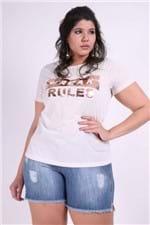 T-shirt de Linho Silk Plus Size Off White M