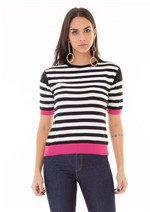 T-Shirt de Listras em Tricot com Detalhes em Cor Diferenciada