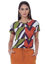 T-Shirt de Malha de Viscose Estampada