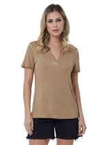 T-Shirt de Malha Viscose com Decote V