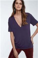 T-Shirt Decote Super V Colors Azul Tuna - P