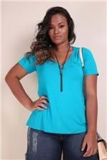 T-shirt Decote V Plus Size Azul Turquesa PP
