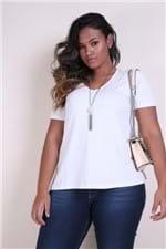 T-shirt Decote V Plus Size Off White P