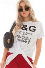 T-shirt Destroyed com Lettering e Amarração BL4258 - Kam Bess