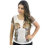 T-Shirt Detalhe Animal Print M