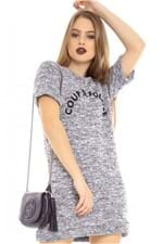 T-shirt Dress Mescla com Lettering ML0706 - Kam Bess