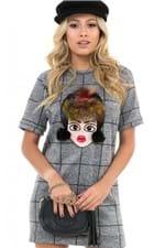 T-shirt Dress Xadrez com Aplicação BL4134 - Kam Bess