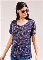 T-Shirt Estampada Banhistas AZUL MARINHO G