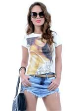 T-shirt Estampada Bege BL1638 - P